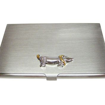 Two Toned Wiener Dog Business Card Holder