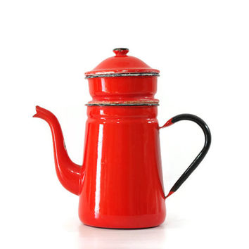 Vintage Red Enamel Coffee Pot, Enamelware, French Country Decor