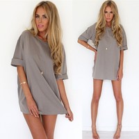 New Ladies Women Short Sleeve Plus Loose Pure Color Casual Beach Shift Dress