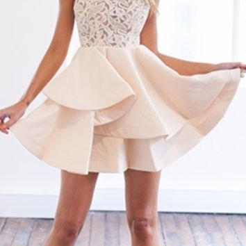 Layer Cake Pink Lace Sleeveless Scoop Neck Ruffle Tier Skater Circle A Line Flare Mini Dress