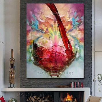 Free Shipping 100%Hand Painted Oil Painting Still Life Red Wine Abstract Wall art Home Decoration Home Decor Decorative no Frame