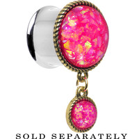 "5/8"" Double Pink Imitation Opal Dangle Plug 