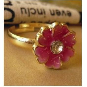 R214 French Romantic Provence Style. Matte Glaze Flower Ring Models Jewelry Accessories