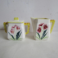 Japan Ceramic 70s Floral 3 pc Tea Service Set Yellow Creamer Sugar Container with Lid