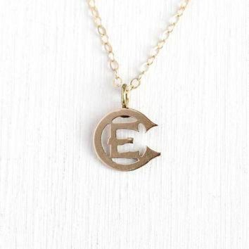 ICIKGQ8 antique victorian pendant 10k rose gold letter e ec brooch pin conversion charm ne