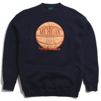 University of Michigan Embroidered Suede Basketball TSi Crewneck Sweatshirt Navy (Large)