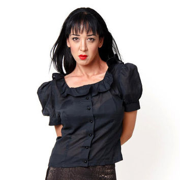 60's Vintage black blouse with puff sleeves and flutter collar