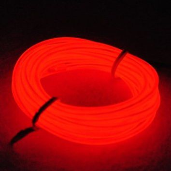 Lychee® 9ft 3m Red Neon Glowing Strobing Electroluminescent Wire (El Wire Red)