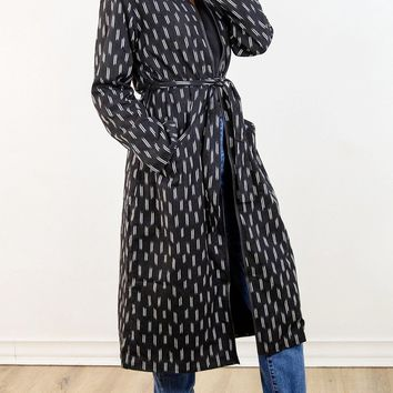 Handwoven Ikat Duster Coat in Black + Cream