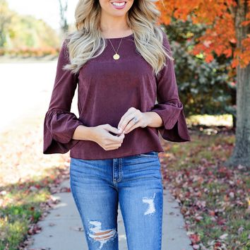 * Carlie Suede Feel Petal Sleeve Top - Burgundy
