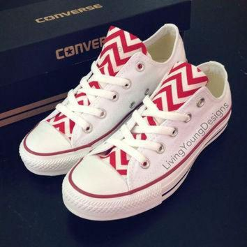 DCKL9 Red Chevron Converse Low Top Sneakers White Custom Chuck Taylors
