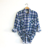 Vintage boyfriend flannel / blue plaid shirt / grunge shirt / distressed / washout