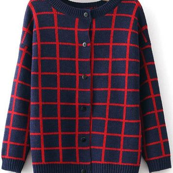 Navy Blue Plaid Print Cardigan