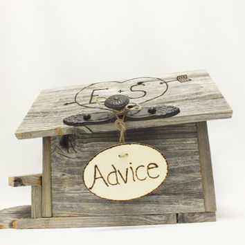 Advice For The Bride And Groom Rustic Wedding Birdhouse With Personalized Hinged Roof And Vintage Inspired Knob  Unique Wedding Gift Idea
