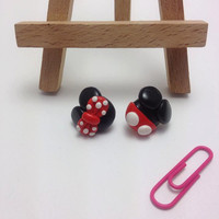 Mickey and Minnie Stud Earrings, Mickey, Minnie, Polymer Clay Jewelry, Handmade, Disney, Cartoon, Miniature, Kawaii, Cute Gift, Girl Gift