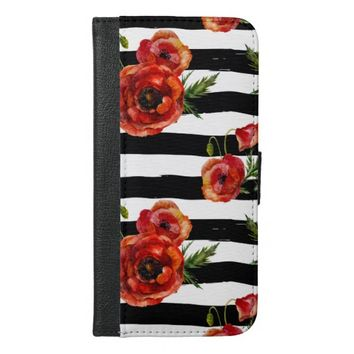 Chic Red Poppy Flowers iPhone 6/6s Plus Wallet Case