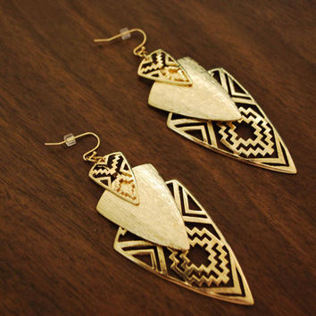 2 last  pair .GOLD  EARRINGS . Beautiful spearhead earrings dipped in gold.