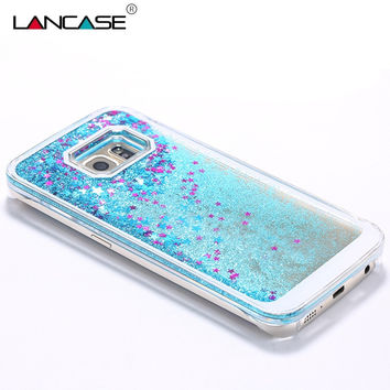 For Samsung Galaxy S7 Edge Case Liquid Flowing Stars Glitter Bling Quicksand Clear Case For Samsung S7 S6 S5 Note 5 Phone Cases