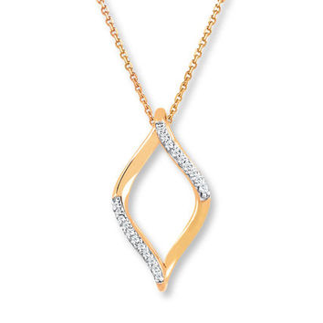 Diamond Necklace 1/20 ct tw Round-cut 10K Yellow Gold