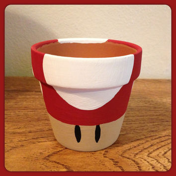Super Mario Mushroom Planting Pot Red by K8BitHero on Etsy