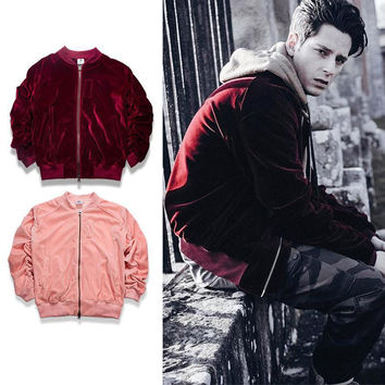 Oversized Vintage Wine Red/pink men and women Velvet Fabric Pleated Designer Bomber Jacket