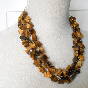 Brown necklace, Tiger eye gemstones necklace, Beaded jewelry, Great for teacher, mum, mother gift and birthday gift, Multi strand necklace