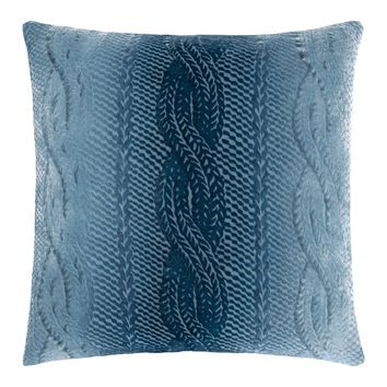 Denim Cable Knit Velvet Pillows by Kevin O'Brien Studio