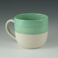 Porcelain Groove Mug in Mint Green by kimwestad on Etsy