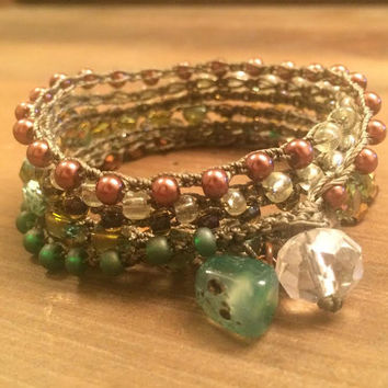 Boho Jewelry, Green Wrap Bracelet, Crocheted Jewelry, Agate, Natural Stone Bracelet, Green and Brown, Country Girl