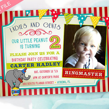 Circus Birthday Invitation - Circus Invitation - Photo Birthday Invitation - Circus Party Theme