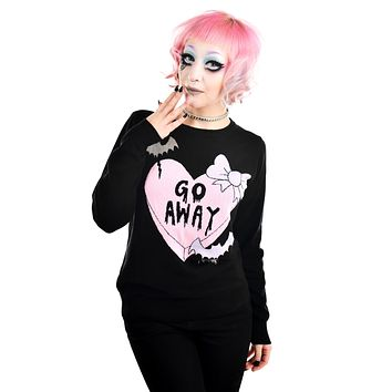 Pastel Goth Creepy Love Emo Candy Heart Go Away Black Knit Sweater