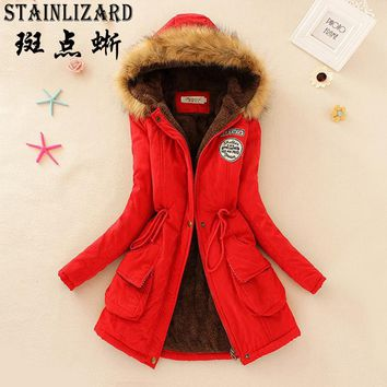 STAINLIZARD Fahion Women Winter Coat Casual Cotton Red Hooded Neck Long Thick Ladies Women Clothing Warm Women Jacket CJT142