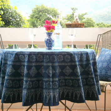 Hmong Indigo Batik Round Table Cloth Naturally Dyed Cotton 60 inch