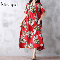Women Boho Dress Cotton Linen Short Sleeve Retro Floral Print Vintage Long