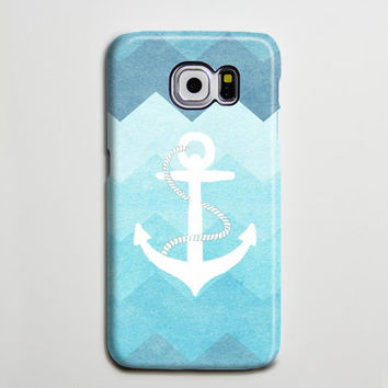 Blue Chevron White Anchor Samsung Galaxy S6 Edge Case,Galaxy S6 case,Samsung S5 Case S4 Case S3 Case,Samsung Galaxy Note 3 Case Note 2 Case