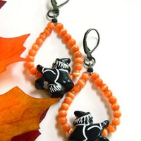 Halloween Beaded Earrings Black White Orange Short Dangle Handmade