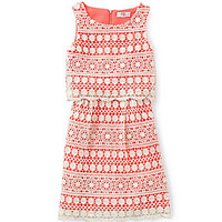 GB Girls 7-16 Crochet Popover Dress - Tan