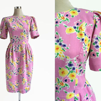 1980's Floral Dress - 80's Vintage Dress - Tulip Skirt - Pretty In Pink Dress