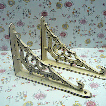 Wall Bracket Cast Iron Shelf Ornate Brace Shabby Style Chic Cream Off White Decorative Brackets Small Petite 1 Pair (2 individual brackets)