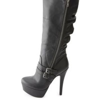 Slouchy Belted Side-Zip Platform Stiletto Boots - Black