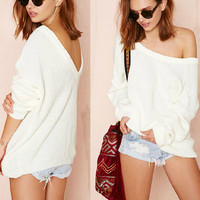 Sexy strapless backless loose sweater CS1104BB