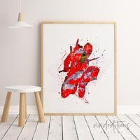 Deadpool Watercolor Art Print