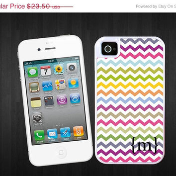 SALE Chevron with initial curved brackets iPhone 4/4S / iPhone 5 tough case - Colorful iPhone 4, 5 hard case, 2 piece rubber lining case