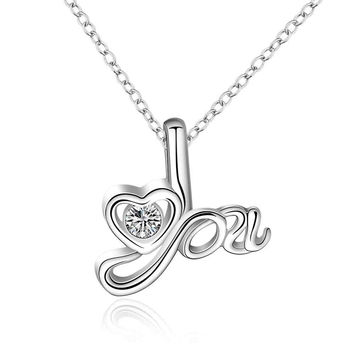 silver plated Chain love for you Necklaces Pendants Men jewelry 661 MP