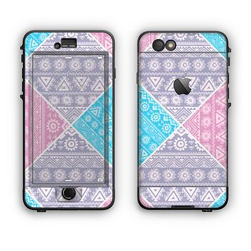 The Squared Pink & Blue Textile Patterns Apple iPhone 6 Plus LifeProof Nuud Case Skin Set