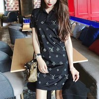 """Louis Vutitton"" Women Fashion Hot Fix Rhinestone Letter Lapel Short Sleeve T-shirt  Dress"