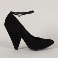 Bamboo Thelma-01 Pointy Toe Ankle Strap Pump