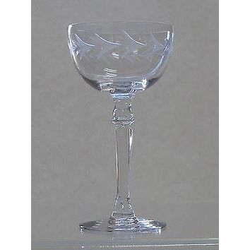 4 Fostoria Tall champagne glass Holly pattern Hand cut  Crystal  Made in USA