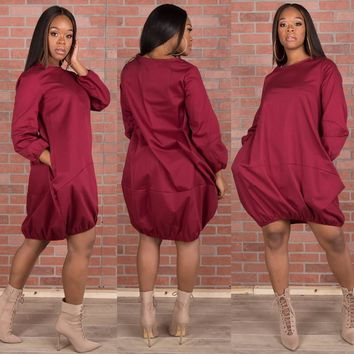 Bombay Balloon Dress - Cranberry