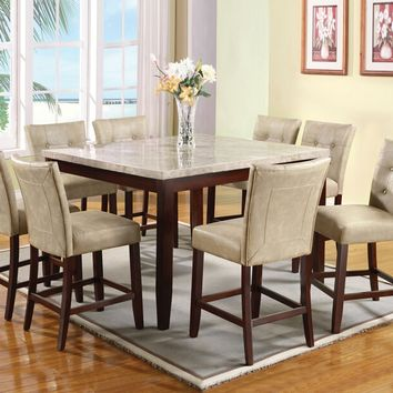 Acme 17059-67055 7 pc britney marble top walnut finish wood counter height dining table set